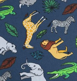 50x140 cm cotton wild animals steel blue
