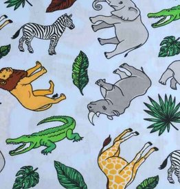50x140 cm cotton wild animals light blue
