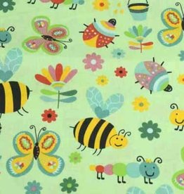50x140 cm cotton insects light green