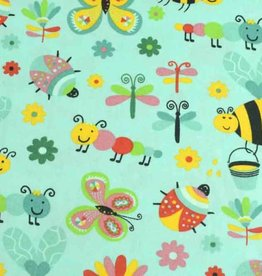 50x140 cm cotton insects mint
