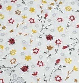 50x140 cm cotton flowers and ladybugs light beige
