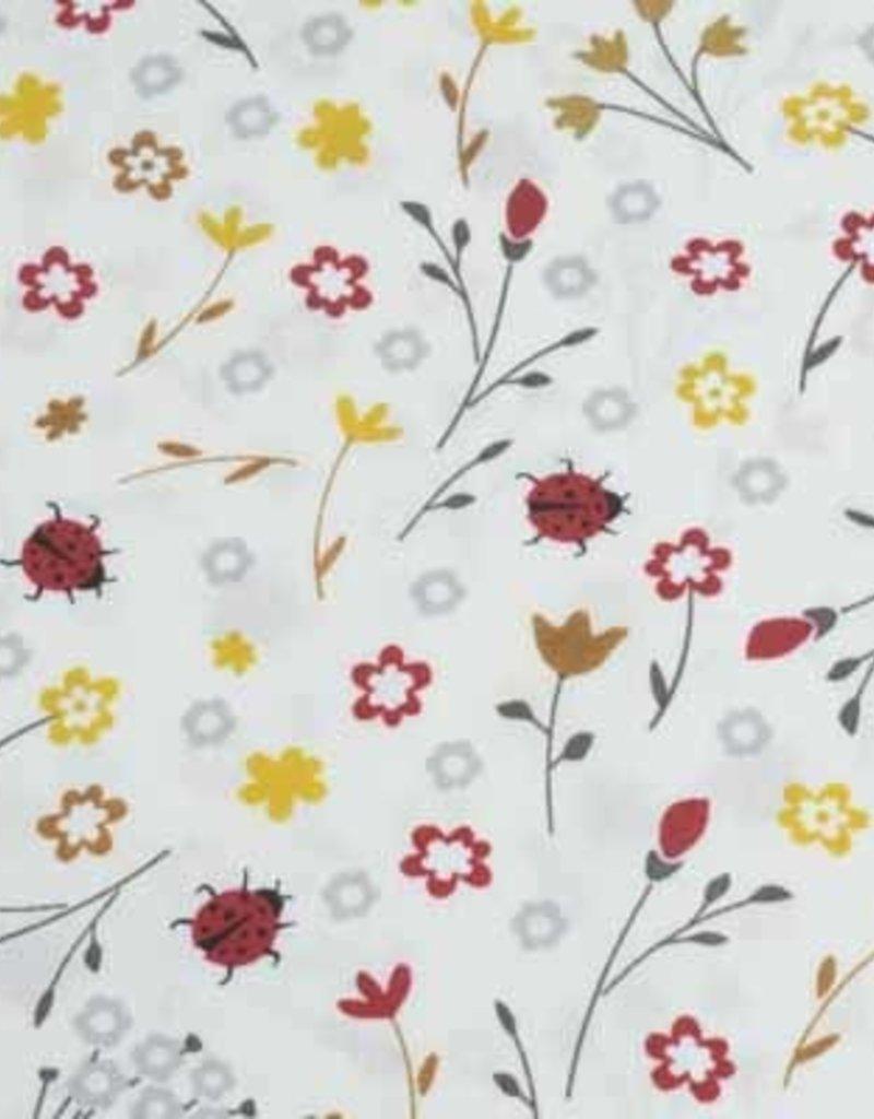 50x140 cm Dapper katoen bloemen en lieveheersbeestjes lichtbeige