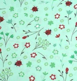 50x140 cm cotton flowers and ladybugs mint