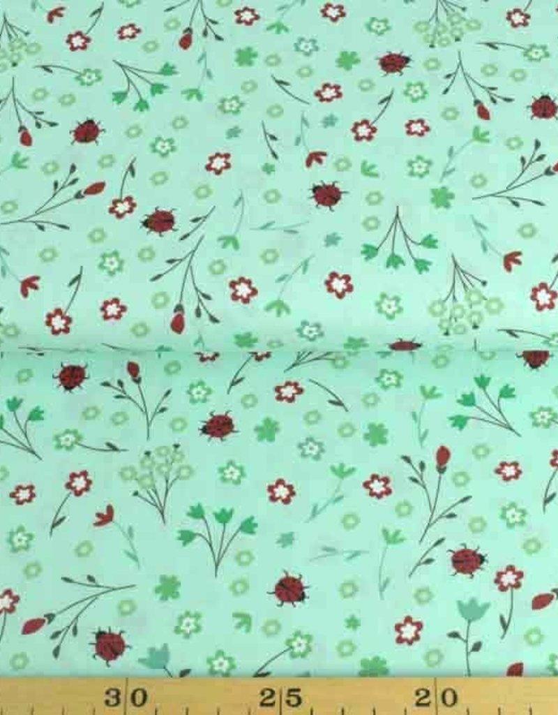 50x140 cm Baumwolle Blumen und Marienkäfer mint