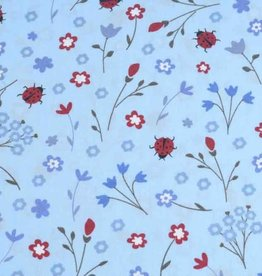 50x140 cm Dapper katoen bloemen en lieveheersbeestjes lichtblauw