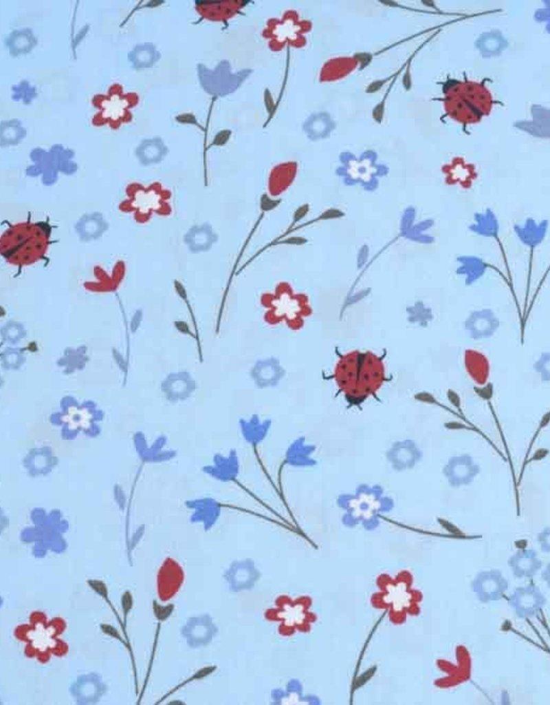 50x140 cm Baumwolle Blumen und Marienkäfer hellblau