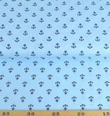 50x140 cm Dapper katoen ankertjes lichtblauw