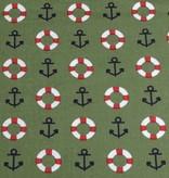 50x140 cm Dapper katoen maritiem kaki groen