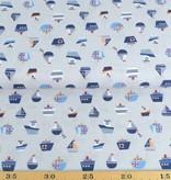 50x140 cm Baumwolle Boote hellgrau