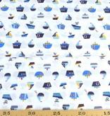 50x140 cm Baumwolle Boote weiß