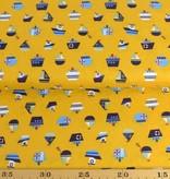 50x140 cm Baumwolle Boote ocker