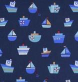 50x140 cm Baumwolle Boote marine