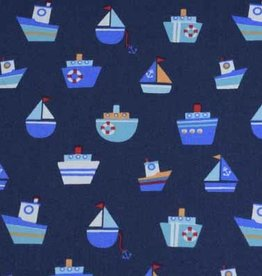50x140 cm cotton boats navy