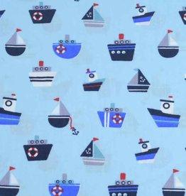 50x140 cm cotton boats light blue
