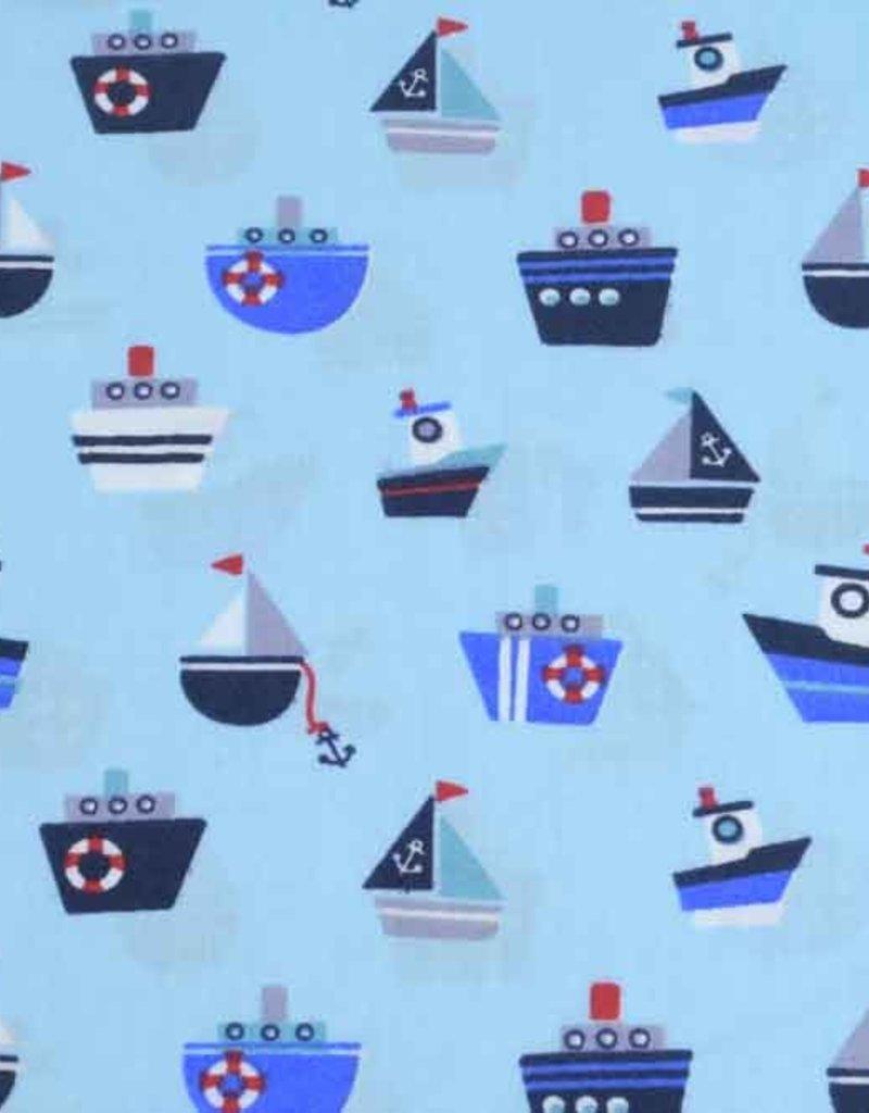 50x140 cm Dapper katoen bootjes lichtblauw