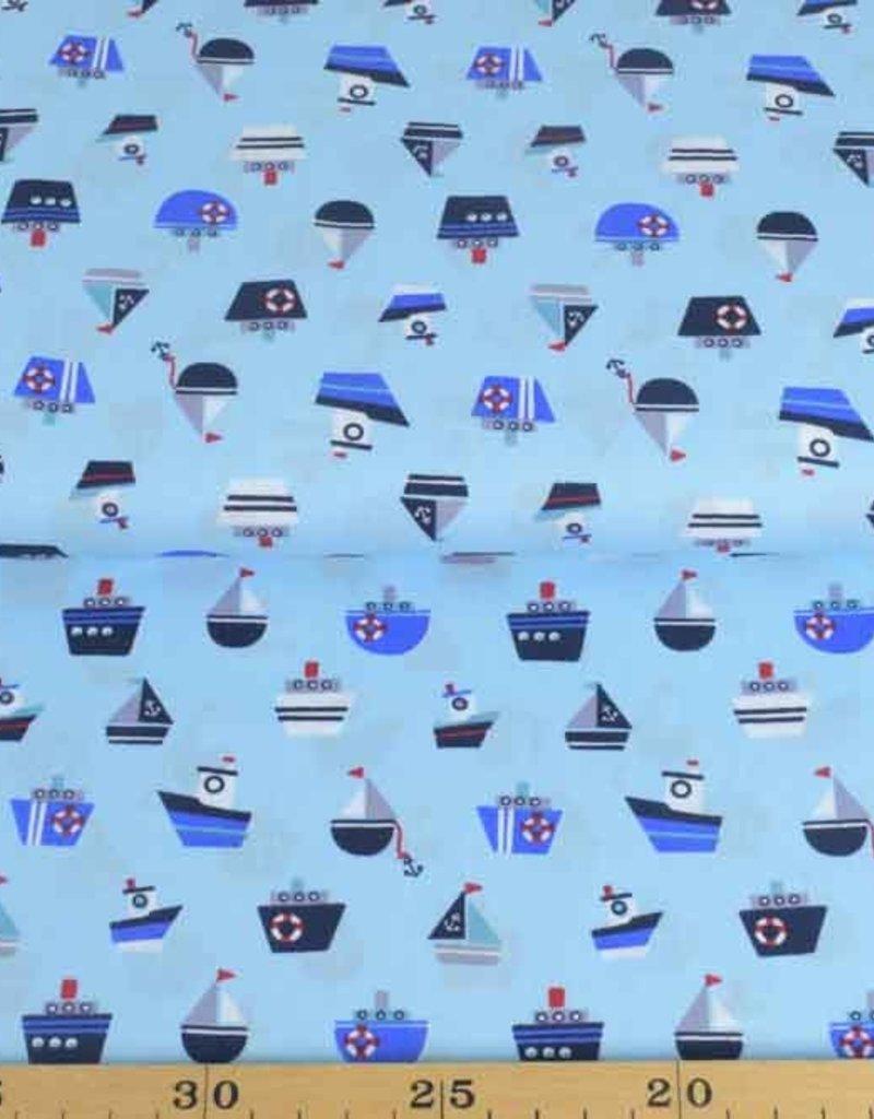 50x140 cm Baumwolle Boote hellblau