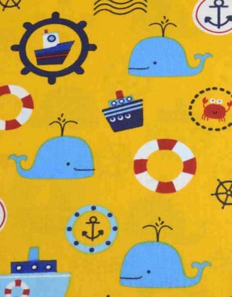 50x140 cm Dapper katoen maritiem okergeel