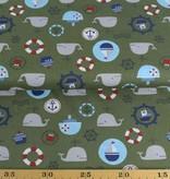 50x140 cm Baumwolle Maritim khaki grün