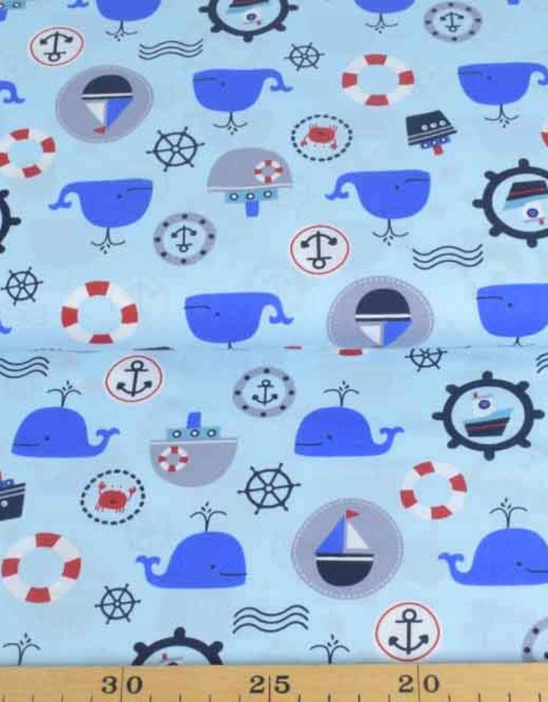 50x140 cm Baumwolle Maritim hellblau