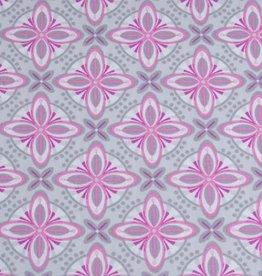 50x140 cm Dapper katoen abstract kaki lichtgrijs/pink