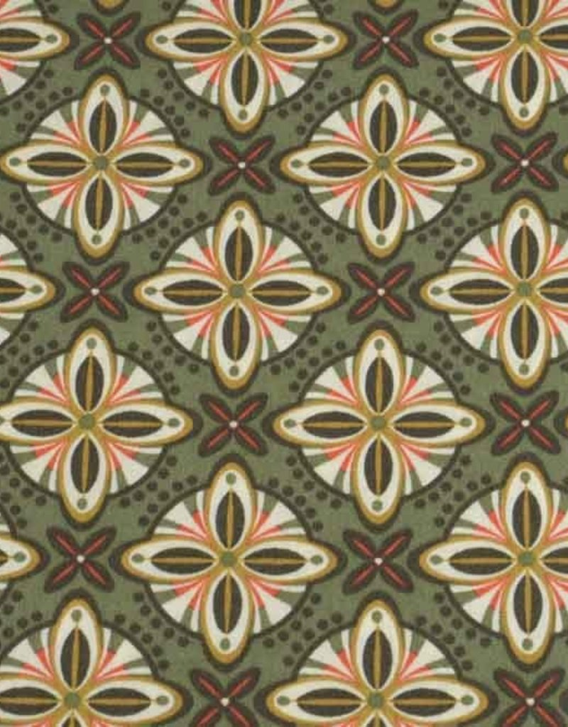 50x140 cm Dapper katoen abstract kaki groen