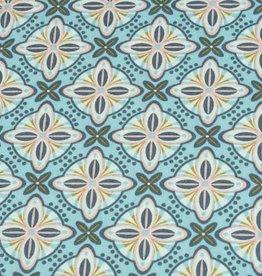 50x140 cm Dapper katoen abstract lichtblauw/mint