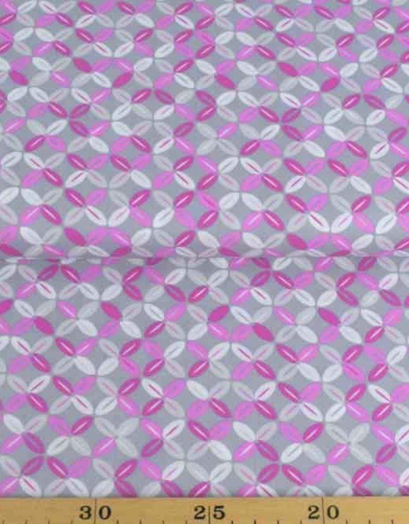 50x140 cm Dapper katoen abstract lichtgrijs/pink