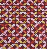 50x140 cm Dapper katoen abstract bordeaux