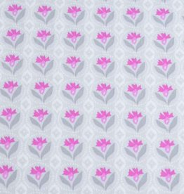 50x140 cm Dapper katoen bloemen abstract lichtgrijs/pink