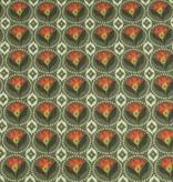 50x140 cm Baumwolle Blumen Abstrakt dunkelgrün