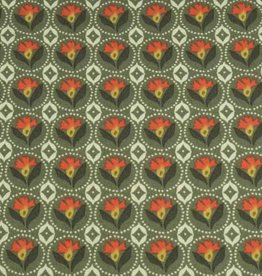 50x140 cm cotton flowers abstract dark green