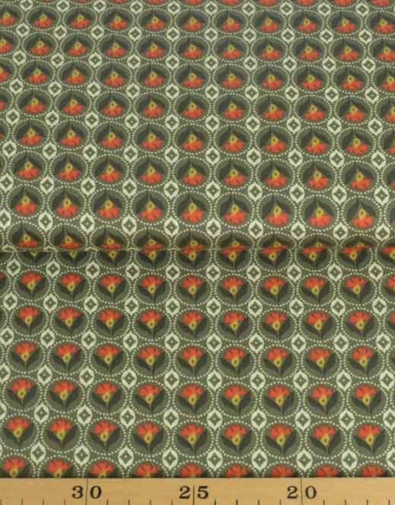 50x140 cm Dapper katoen bloemen abstract donkergroen