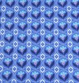 50x140 cm Dapper katoen bloemen abstract blauw