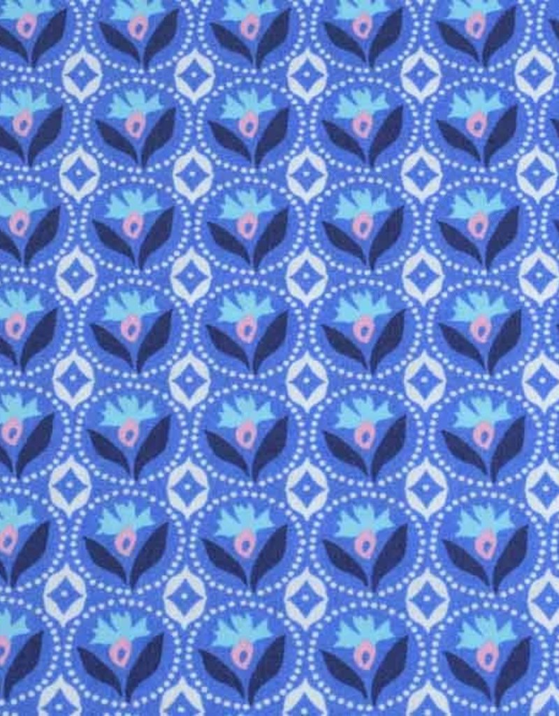 50x140 cm cotton flowers abstract blue