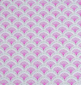 50x140 cm cotton flowers abstract light grey/pink