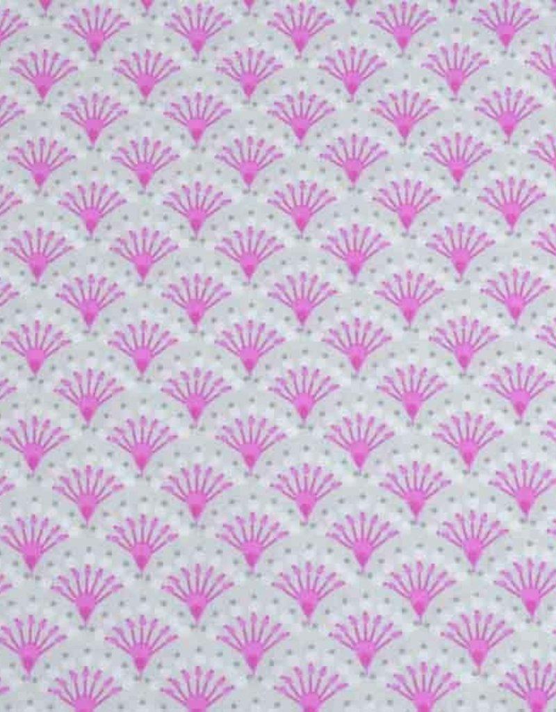 50x140 cm Baumwolle Blumen Abstrakt hellgrau/rosa
