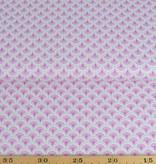 50x140 cm Dapper katoen bloempjes abstract lichtgrijs/pink