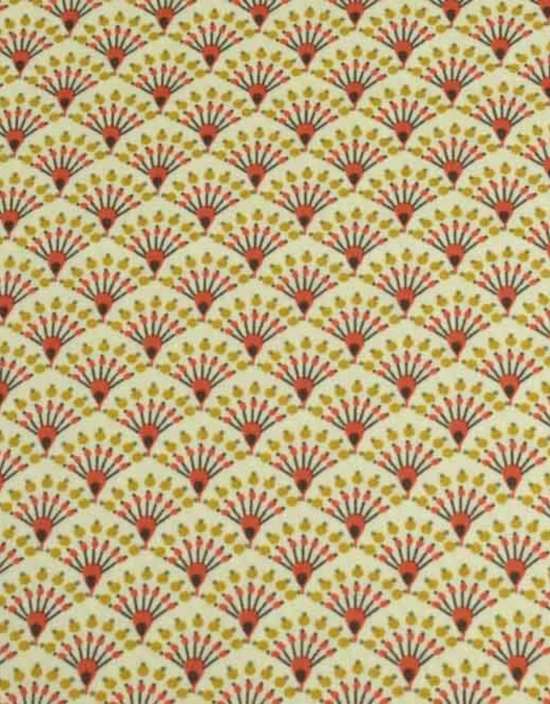 50x140 cm Dapper katoen bloempjes abstract lichtgeel