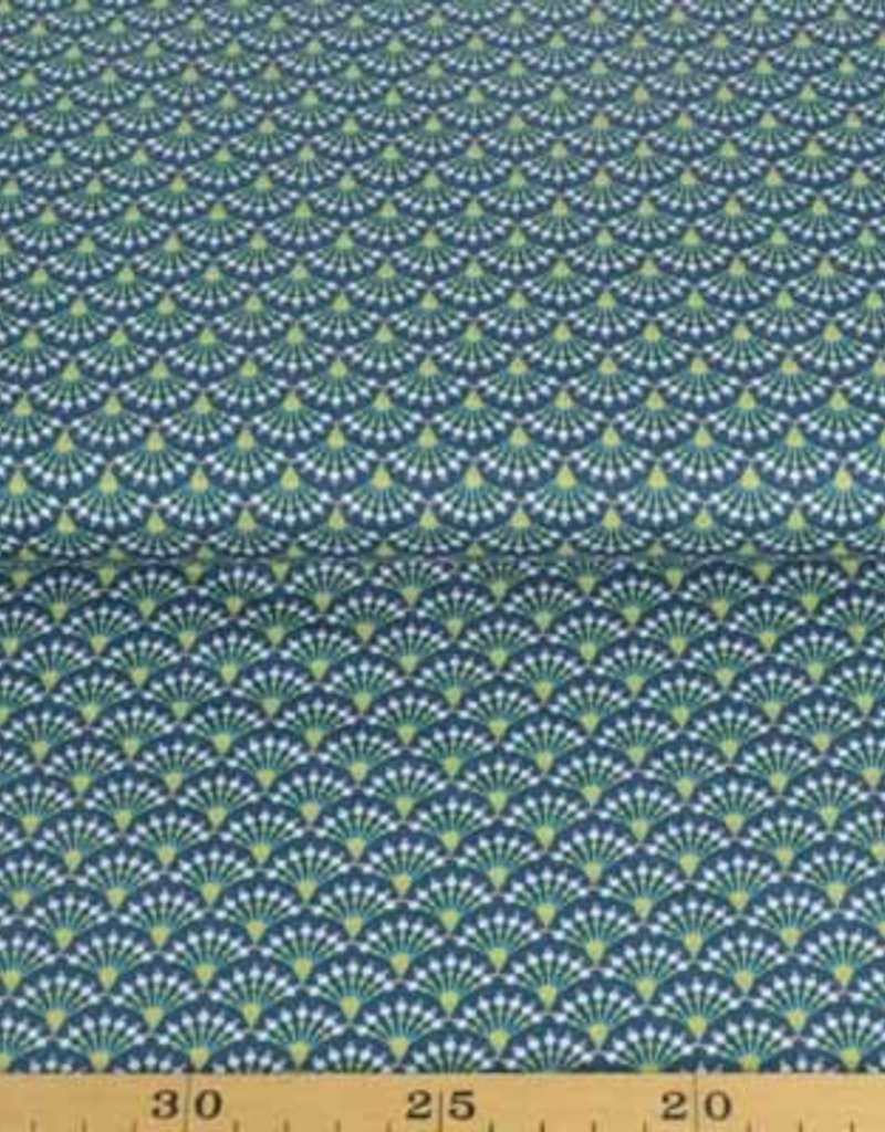 50x140 cm cotton flowers abstract petrol