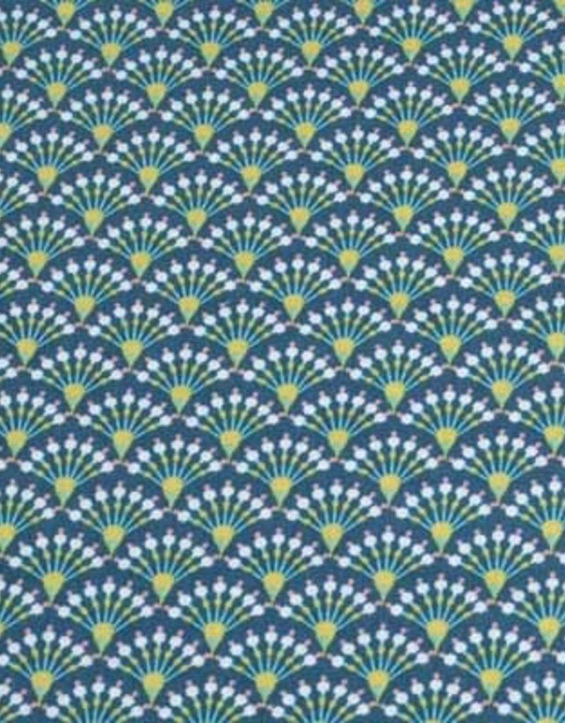 50x140 cm Baumwolle Blumen Abstrakt petrol