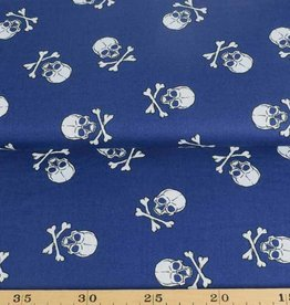 50x140 cm cotton skulls big dark blue