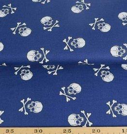 50x140 cm Dapper katoen doodskoppen groot donkerblauw