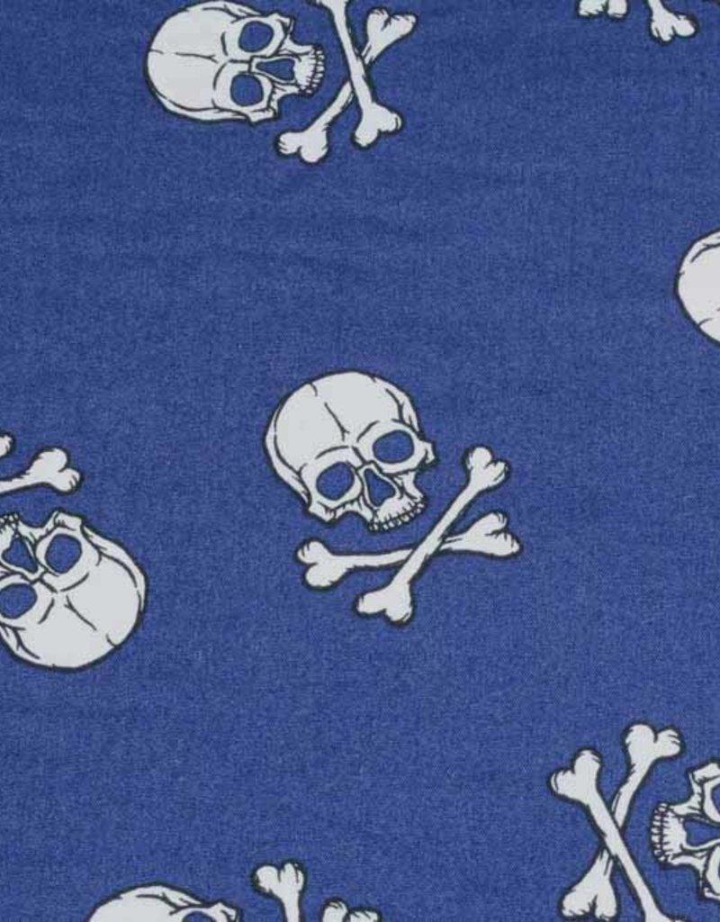 50x140 cm Baumwolle Totenköpfe groß dunkelblau