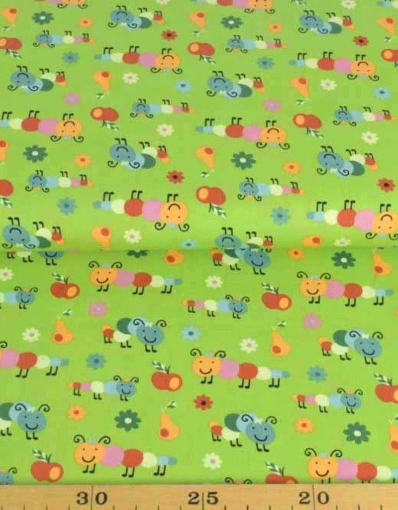 50x140 cm Baumwolle Raupen hellgrün