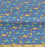 50x140 cm Baumwolle Raupen stahlblau