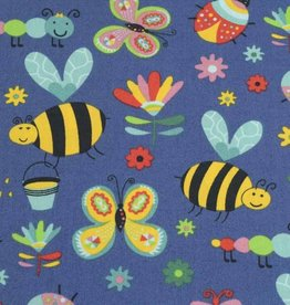 50x140 cm cotton insects steel blue