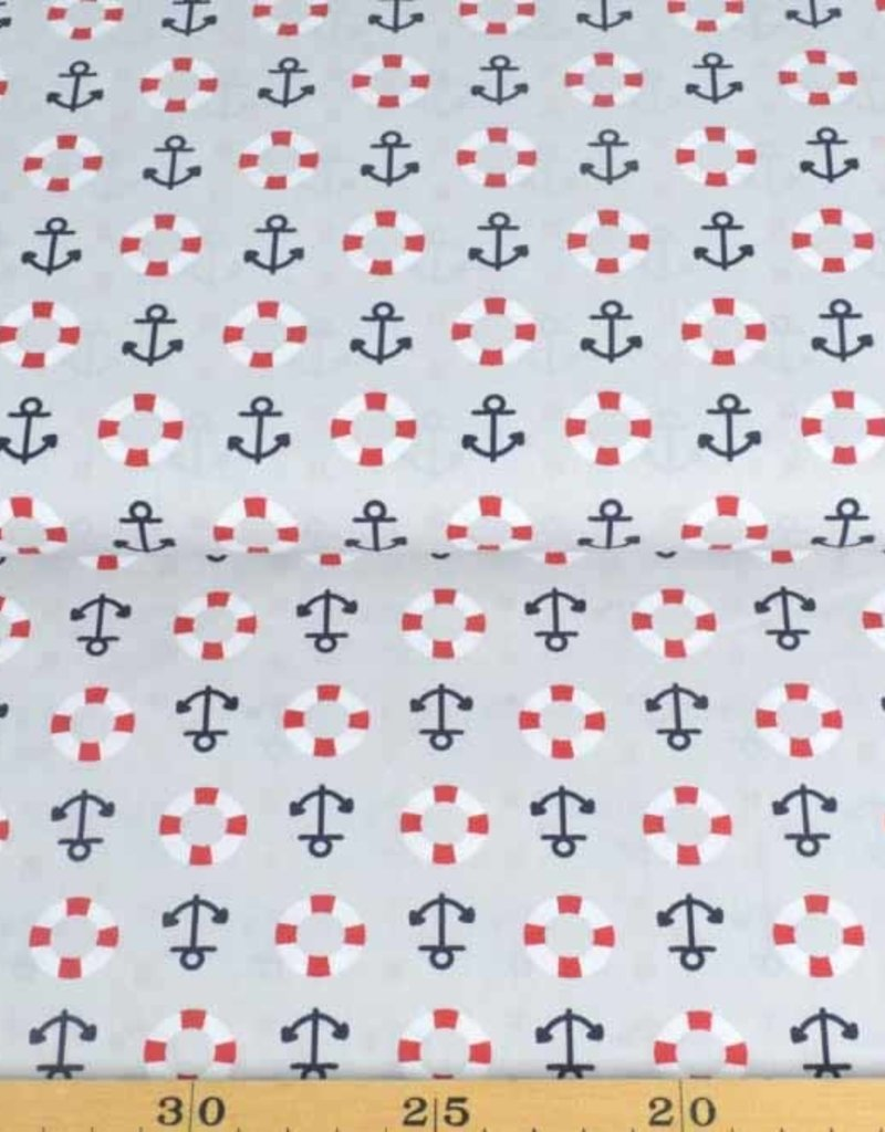 50x140 cm Baumwolle Maritim hellgrau