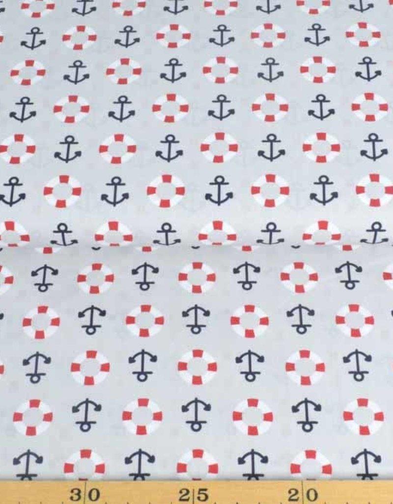 50x140 cm Dapper katoen maritiem lichtgrijs