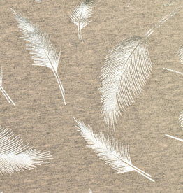 100x150 cm. cotton jersey feathers marl grey/silver foil