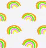 50x150 cm Baumwolljersey Neon Regenbogen weiß